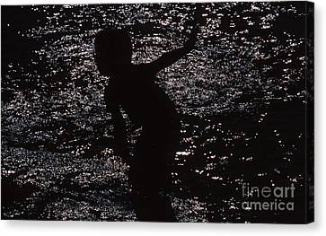 Canvas Print featuring the photograph Playing In The Water by Edward R Wisell