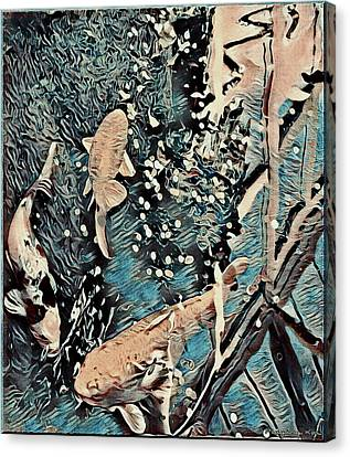 Canvas Print featuring the digital art Playing It Koi by Mindy Newman
