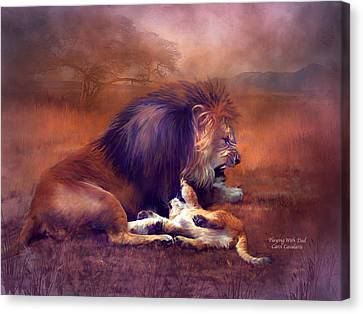 Lions Canvas Print - Playing With Dad by Carol Cavalaris