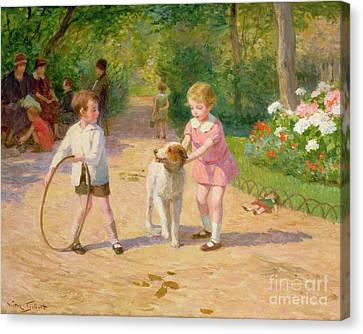 Playing With The Hoop Canvas Print by Victor Gabriel Gilbert
