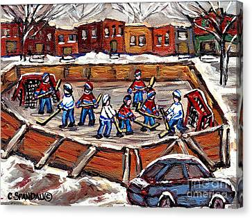 Playoff Time At The Local Hockey Rink Montreal Winter Scenes Paintings Best Canadian Art C Spandau Canvas Print by Carole Spandau