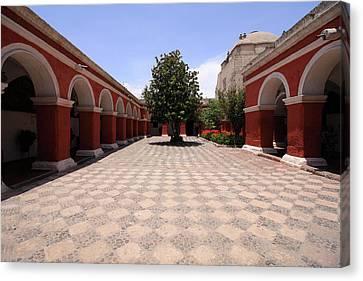 Canvas Print featuring the photograph Plaza At Santa Catalina Monastery by Aidan Moran