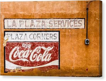 Plaza Corner Coca Cola Sign Canvas Print