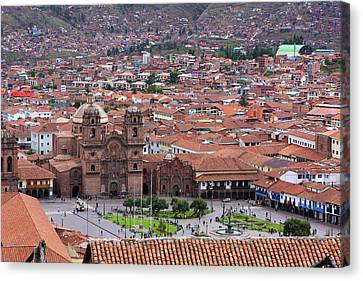 Canvas Print featuring the photograph Plaza De Armas, Cusco, Peru by Aidan Moran