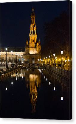 Plaza De Espana At Night - Seville 6 Canvas Print