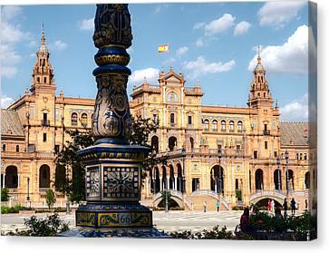 Historical Canvas Print - Plaza De Espana - Seville - Hdr 3 by Andrea Mazzocchetti