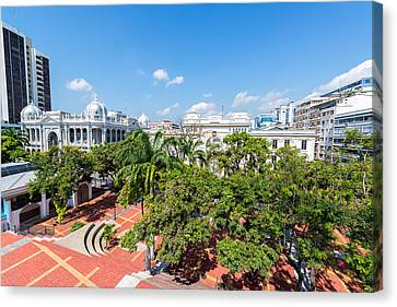 Plaza In Downtown Guayaquil Canvas Print by Jess Kraft