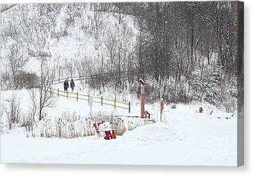 Pleasant Hike In Snow Canvas Print by Charline Xia