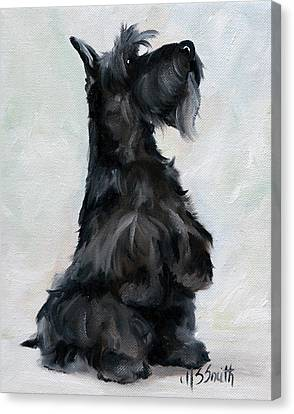 Scottish Dog Canvas Print - Please by Mary Sparrow