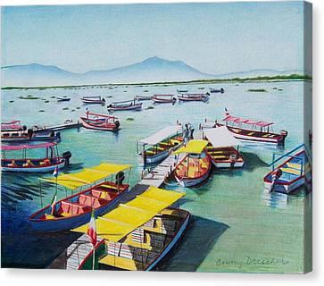 Pleasure Boats On Lake Chapala Canvas Print by Constance Drescher