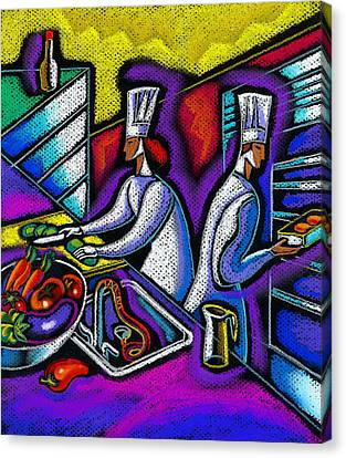 Canvas Print featuring the painting  Pleasure Of The Food Preparation by Leon Zernitsky