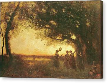 Pleasures Of The Evening Canvas Print by Jean Baptiste Camille Corot
