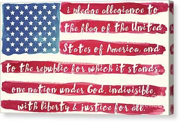 Pledge Of Allegiance American Flag Canvas Print