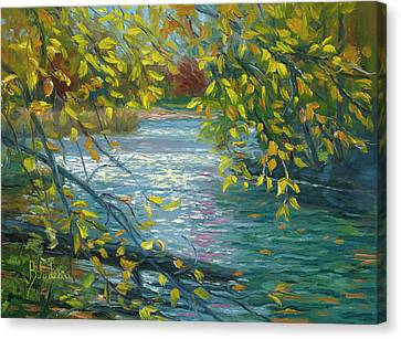 New England Autumn Canvas Print - Plein Air - Chicopee State Park by Lucie Bilodeau