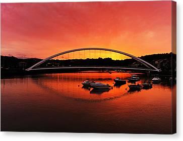 Plentzia Bridge At Sunset Canvas Print by Mikel Martinez de Osaba