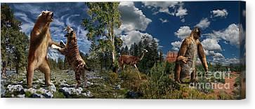 Sloth Canvas Print - Pliocene - Pleistocene Mural 2 by Julius Csotonyi
