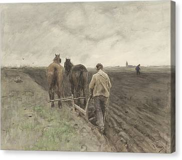 Ploughing Farmer Canvas Print by Anton Mauve