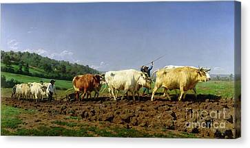 Ploughing In Nivernais Canvas Print