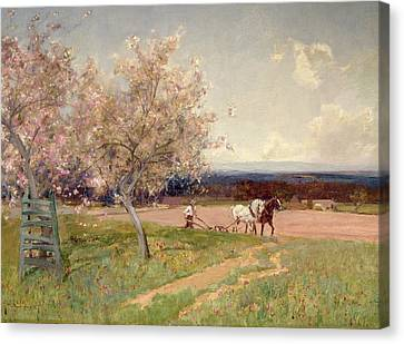 Ploughing Canvas Print by Sir Alfred East