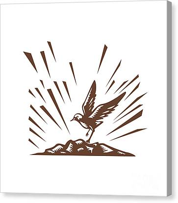 Plover Landing Island Woodcut Canvas Print by Aloysius Patrimonio