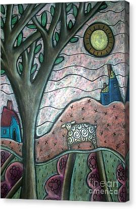 Primitive Art Canvas Print - Plum Blooms by Karla Gerard