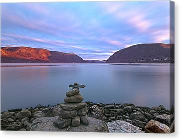 Plum  Point Rock Cairn At Sunset Canvas Print