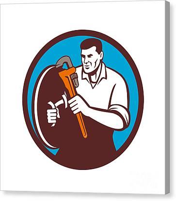 Plumber Brandishing Wrench Circle Retro Canvas Print by Aloysius Patrimonio