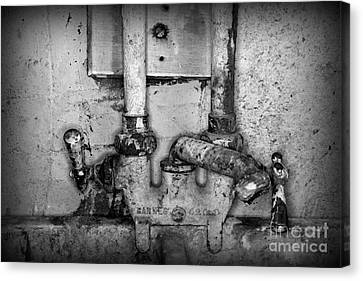 Indoor Still Life Canvas Print - Plumbing Hot And Cold Water In Black And White by Paul Ward