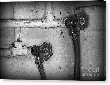 Plumbing Old Handles In Black And White Canvas Print