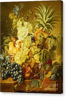Plums, A Peach, Grapes, A Melon, A Pineapple, A Fig, Currants, Cherries And Flowers Canvas Print