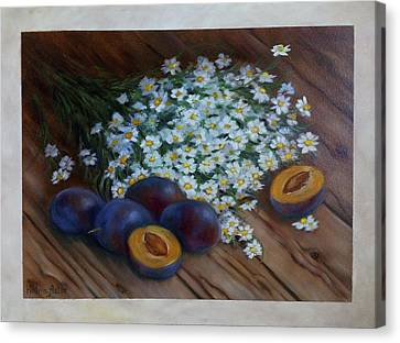 Cooks Illustrated Canvas Print - Plums And Daisies by Katrin Aster