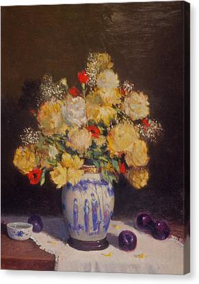 Plums And Flowers Canvas Print by David Olander