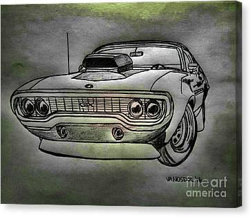 Plymouth Gtx American Muscle Car - Charcoal Background Canvas Print by Scott D Van Osdol