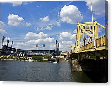 Pnc Park And Roberto Clemente Bridge Pittsburgh Pa Canvas Print