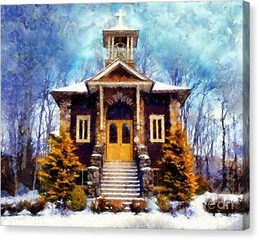 Poconos Country Church Canvas Print by Janine Riley