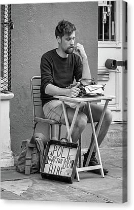 Poet For Hire Bw Canvas Print by Steve Harrington