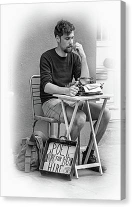 Poet For Hire - Vignette Bw Canvas Print