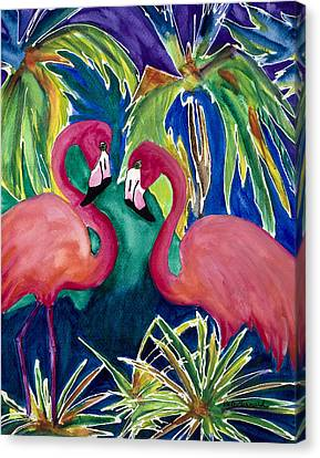 Poin And Settia Dine At The Palm Canvas Print by Dale Bernard