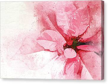 Christmas Flower Canvas Print - Poinsettia Abstract by Terry Davis