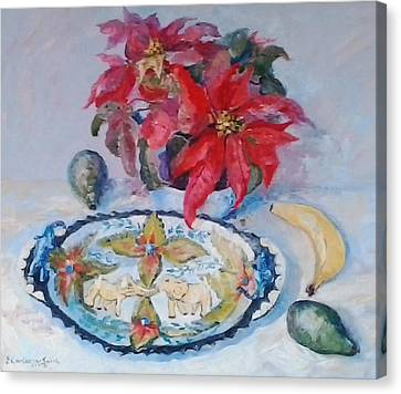 Poinsettia And Ardmore Dish Canvas Print