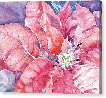 Canvas Print featuring the painting Poinsettia Glory by Mary Haley-Rocks