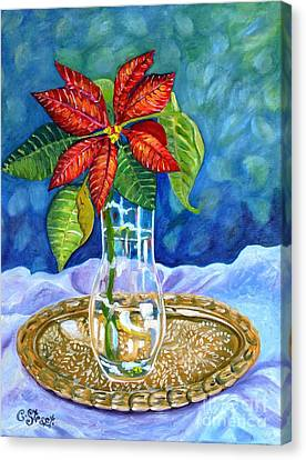 Poinsettia On Brass Tray Canvas Print
