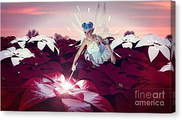Poinsettia Snow Fairy Canvas Print by Methune Hively