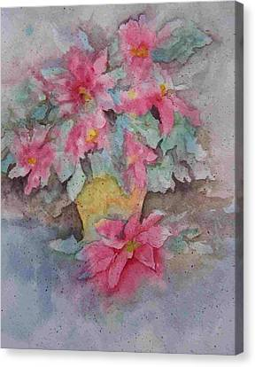 Canvas Print featuring the painting Poinsettias II by Sandy Collier