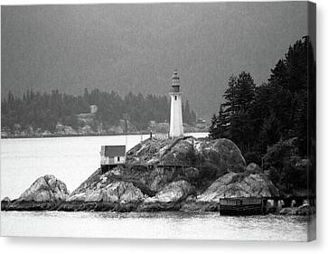 Point Atkinson Lighthouse 01 Bw - West Vancouver, British Columbia Canvas Print