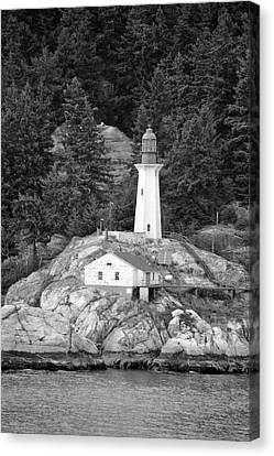 Point Atkinson Lighthouse 02 Bw - West Vancouver, British Columbia Canvas Print