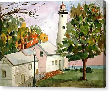 Point Aux Barques Lighthouse - Port Hope Mi Canvas Print by Larry Hamilton