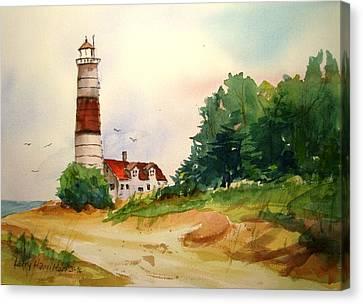 Point Betsie Lighthouse Michigan Canvas Print by Larry Hamilton