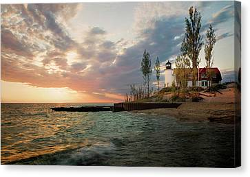 Point Betsie Lighthouse Sunset Canvas Print