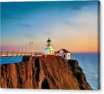 Canvas Print featuring the painting Point Bonita Lighthouse by Douglas MooreZart